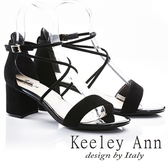 ★2018春夏★Keeley Ann韓式風潮~交叉細帶真皮粗跟涼鞋(黑色) -Ann系列