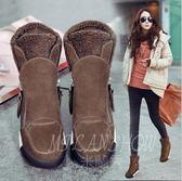 內增高高幫鞋韓版休閒側拉鏈保暖棉鞋厚底加絨短靴