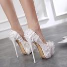 促銷全場九折 模特禮服鞋18cm/20公分超高跟鞋粗跟防水臺包頭單鞋夜店鞋