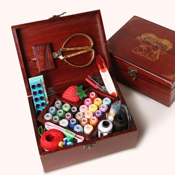 婚慶實木針線盒套裝結婚陪嫁用品家用布藝縫紉針線剪刀縫紉線工具 夏季新品