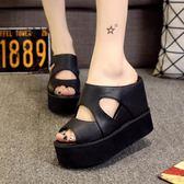拖鞋女高跟厚底增高夏季防水臺女士涼拖鞋