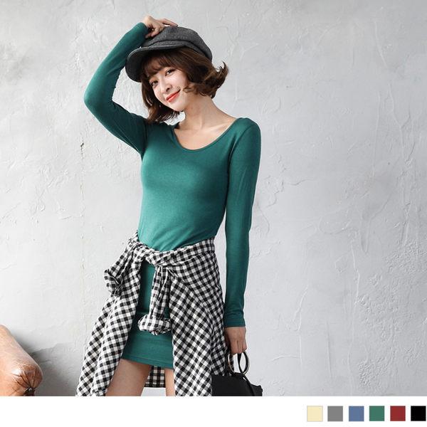 《AB5102-》圓領素面修身棉質長版上衣/洋裝 OB嚴選