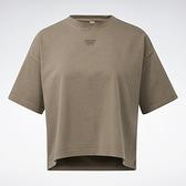 Reebok CLASSICS 女裝 短袖 T恤 落肩 小LOGO 棉 咖啡【運動世界】GN4598