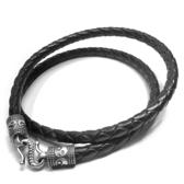 《 QBOX 》FASHION 飾品【L725S030】個性黑色編織真皮革S925純銀太極扣頭項鍊/黑皮繩