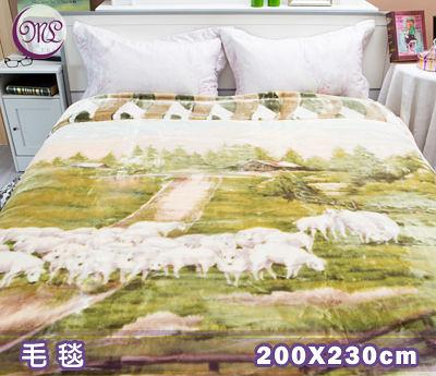 【名流寢飾家居館】Royal Duck超柔長金貂毛毯.日本超極細合纖素材.綠綿羊群.200*230cm