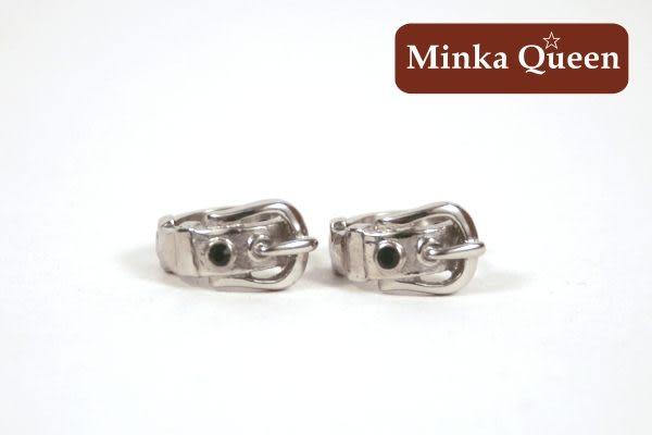 德國鈦鋼 皮帶造型 黑色精緻水鑽抗敏易扣耳環(一對)(11 mm)