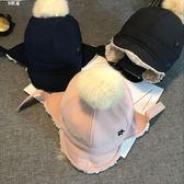 兒童毛線帽男女兒童雷鋒帽保暖棒球帽寶寶兔毛球軟檐帽潮加絨鴨舌帽子