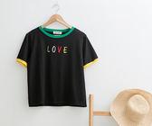 T 恤LOVE 刺繡寬版棉T 二色原單CALLING