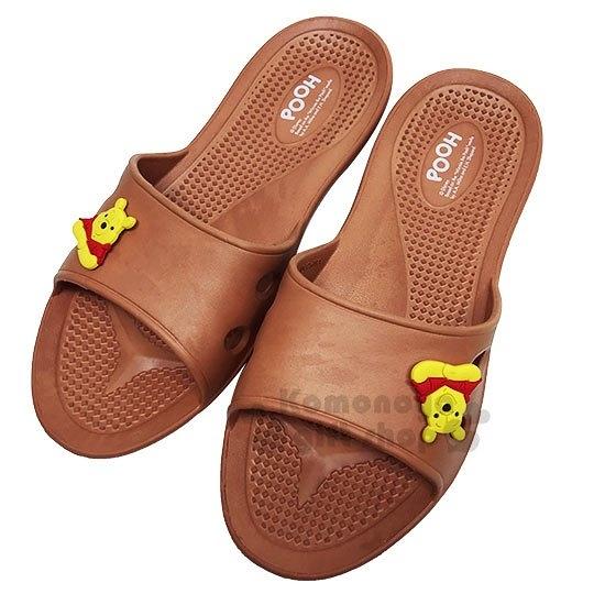 〔小禮堂〕迪士尼 小熊維尼 極輕防滑塑膠拖鞋《淡棕.大臉》室內拖鞋.浴室拖鞋_713052-38971