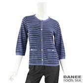 【岱妮蠶絲】混色條紋純蠶絲針織外套(灰藍條紋)