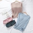 莫代爾帶胸墊上衣長袖內搭薄款大碼圓領衛生衣修身百搭月子服上衣女-Ballet朵朵