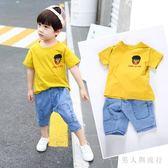 男童套裝 新款兒童夏季短袖T恤衣服兩件式寶寶帥氣洋氣韓版潮 DR17331【男人與流行】