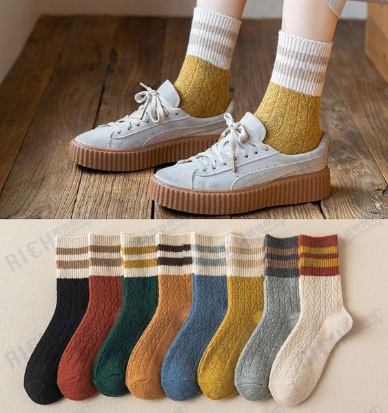 羊毛襪子女中筒襪韓國秋冬季個性百搭日系條紋冬天加厚保暖長筒襪
