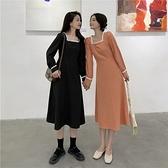 (下殺)顯瘦減齡連身裙法式遮肉方領裙子女【08SG04787】