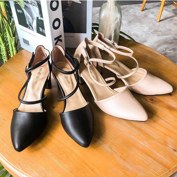 ★秋裝上市★MIUSTAR 繞帶金屬釦皮革尖頭跟鞋(共2色,36-40)【NG0742ZP】預購