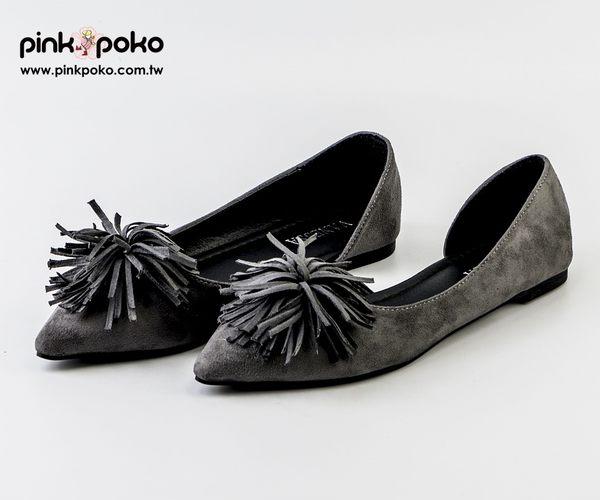 包鞋☆PINKPOKO粉紅波可☆氣質流蘇側空尖頭低跟包鞋~2色#1190