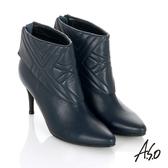 A.S.O 保暖靴 真皮後拉鍊奈米尖楦高跟踝靴 藍