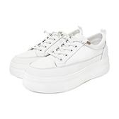MICHELLE PARK 百搭 ‧ 牛皮懶人鞋帶厚底小白鞋〈白〉