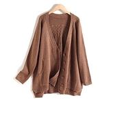 高品質背面麻花V領針織毛衣-大尺碼 獨具衣格 J3329
