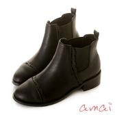 amai雷射花邊彈性伸縮木紋粗跟短靴 黑