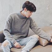 冬季男裝男士針織衫潮流青少年高領毛衣加絨加厚韓版學生寬鬆外套  【PinkQ】