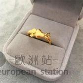 戒指/仿真女鍍金磨砂指環愛心「歐洲站」