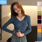 【V3028】shiny藍格子-秋氛恬色.純色坑條紋V領長袖針織衫