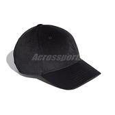 adidas 帽子 Velvet Baseball Cap 黑 男女款 天鵝絨 老帽 棒球帽 運動休閒 【ACS】 FS9006