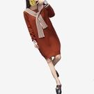秋冬寬鬆假兩件條紋綁帶長袖毛衣短洋裝  ...