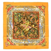 HERMES Tropiques熱帶風情真絲方形絲巾70cm(澄黃色)370043