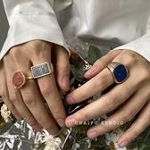 戒指女復古宮廷風百搭珍珠天然石紋理飾品指環【聚寶屋】