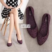 【免運】夏季新款花朵鏤空果凍鞋女透氣涼鞋平底柔軟沙灘鞋時尚洞洞鞋