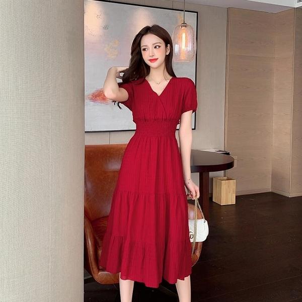 雪紡洋裝 溫柔風小個子法式V領長款裙子2021夏新款泡泡袖雪紡紅色連身裙女 小衣里大購物