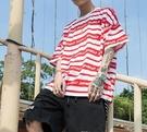 FINDSENSE H1夏季 新款 潮牌 嘻哈高街  中性 條紋拼接色  時尚