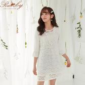 洋裝 透膚蕾絲珍珠短袖洋裝-Ruby s露比午茶