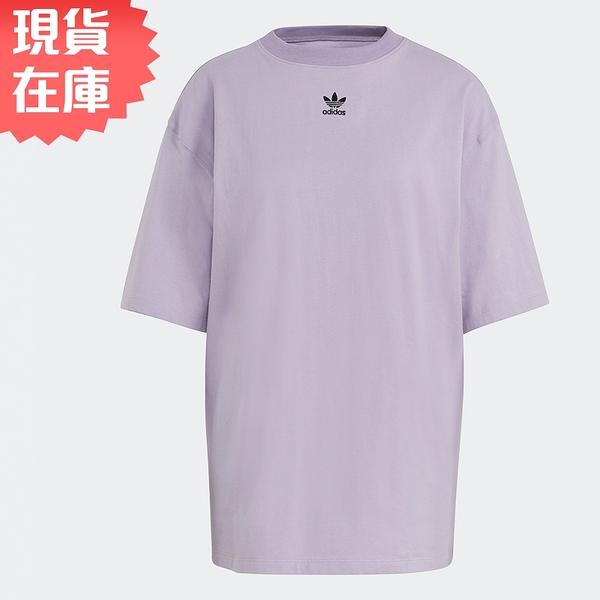 【現貨】Adidas Originals ADICOLOR 女裝 短袖 T恤 寬鬆 刺繡 純棉 紫【運動世界】GN4782
