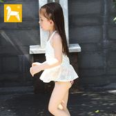 爆款兒童泳衣 日系網紗鏤空女童分體泳衣 泳帽三件套碎花蕾絲泳衣 女