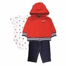 男寶寶套裝三件組 薄連帽外套+短袖包屁衣+長褲 紅棒球   Carter s卡特童裝 (嬰幼兒/小孩/baby)