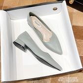 熱賣低跟鞋 夏秋季意爾康百搭仙女風粗跟平底低跟單鞋軟皮尖頭復古ins奶奶鞋 萊俐亞