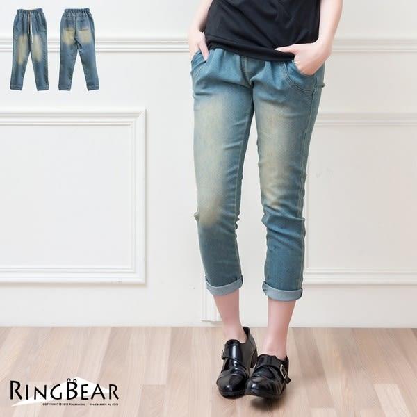 牛仔褲--美好時光仿舊刷色鬆緊腰頭抽繩牛仔褲(XL-5L)-P110眼圈熊中大尺碼