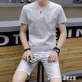 男士休閒套裝夏季新款潮流衣服帥氣夏裝短袖中大尺碼韓版男運動套裝PH365【彩虹之家】
