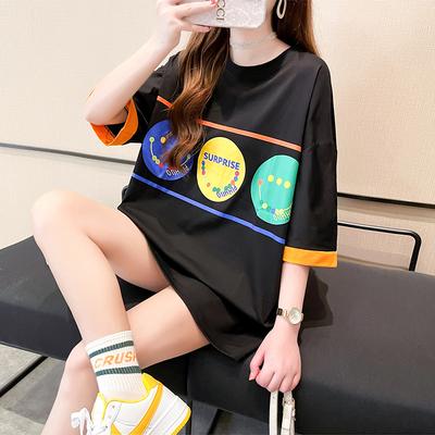 大碼中長款短T韓版寬松短袖T恤女慵懶風百搭上衣1F-CF1-02 胖妞衣櫥