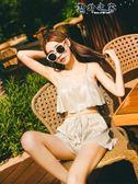 水母衣 泳衣女三件套 韓國溫泉小香風比基尼少女游泳衣學生小胸聚攏  野外之家