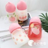 粉色桃子透明玻璃杯女學生迷你水杯粉嫩清新日系便攜小巧隨手杯子-奇幻樂園
