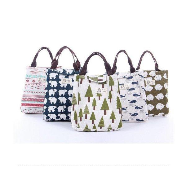 北歐風印花便當保溫包 手提飲料保冰袋 保冷袋保冷包 野餐手提袋 4色【YX111】《約翰家庭百貨