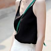 無袖T 恤吊帶背心 V 領寬鬆百搭短款內搭外穿打底t 恤雪紡衫女無袖上衣~星時代女王~