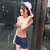 【全館】現折200大U領低胸上衣韓國性感修身緊身兩穿短袖t恤中秋佳節
