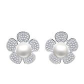 耳環 925純銀鑲鑽銀飾-簡約花朵生日情人節禮物女飾品73dy130【時尚巴黎】