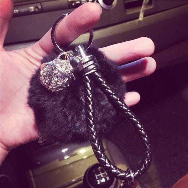 汽車鑰匙掛件女士情侶包包掛飾毛毛球鑰匙扣韓國宮鈴鑰匙鍊創意 年終尾牙交換禮物