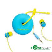《Fonestuff》FS-6002收線式耳塞耳機-藍色黃線